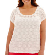 Liz Claiborne® Short-Sleeve Burnout T-Shirt with Cami - Plus