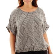 Liz Claiborne® Short-Sleeve Tie-Front Print Blouse - Plus