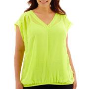 Liz Claiborne® Short-Sleeve V-Neck Dot Print Blouse with Cami - Plus