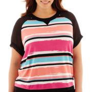 Worthington® Short-Sleeve Sweatshirt Boxy Top - Plus