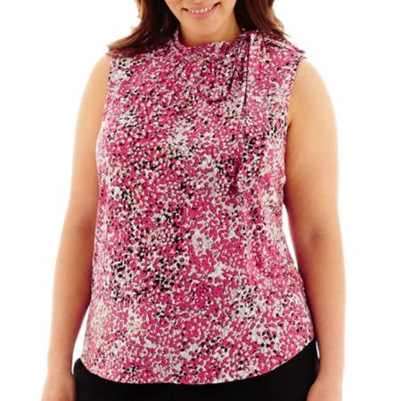 Liz Claiborne Sleeveless Tie-Neck Top - Plus