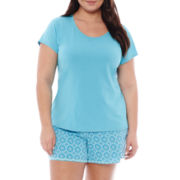 Liz Claiborne® Short-Sleeve Top and Shorts Pajama Set - Plus
