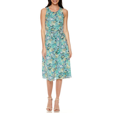 jcpenney.com | Black Label by Evan-Picone Sleeveless Floral Belted A-Line Dress
