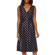 Black Label by Evan-Picone Sleeveless Polka Dot Midi Dress