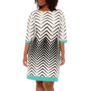 Studio 1® Elbow-Sleeve Chevron Dot Sheath Dress