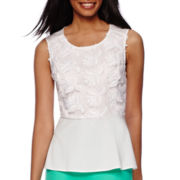 Liz Claiborne® Sleeveless Embroidered Peplum Top