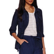 Liz Claiborne® Linen-Cotton Roll-Tab Cargo Anorak Jacket - Tall