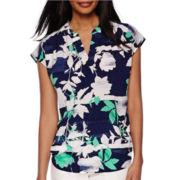 Liz Claiborne® Cap Sleeve Split-Neck Print Blouse - Tall
