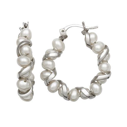 Sterling Silver Freshwater Pearl Hoop Earrings