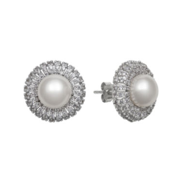 jcpenney.com | Sterling Silver Freshwater Pearl & Cubic Zirconia Earrings