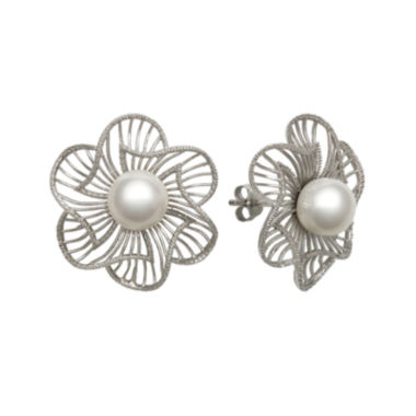 jcpenney.com | Cultured Freshwater Pearl Sterling Silver Flower Earrings