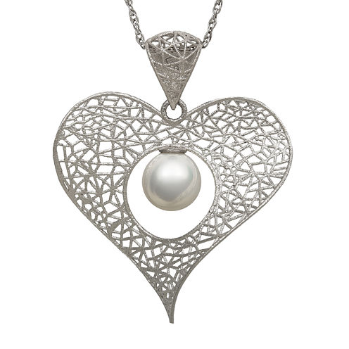 Cultured Freshwater Pearl Sterling Silver Heart Pendant Necklace