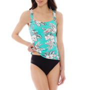 St. John's Bay® Retro Hibiscus Tankini Swim Top or Hipster Swim Bottoms