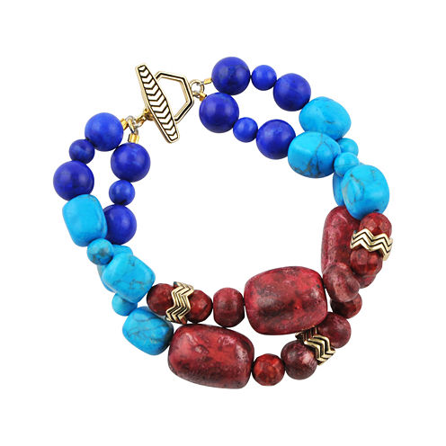 Art Smith by BARSE Multicolor Howlite Double-Strand Brass Bracelet