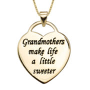 Inspired Moments™ 10K Gold Over Sterling Silver Grandmother Heart Pendant