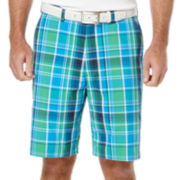 PGA Tour® Plaid Flat-Front Shorts