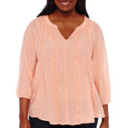 Living Doll 3/4-Sleeve Woven Top - Juniors Plus