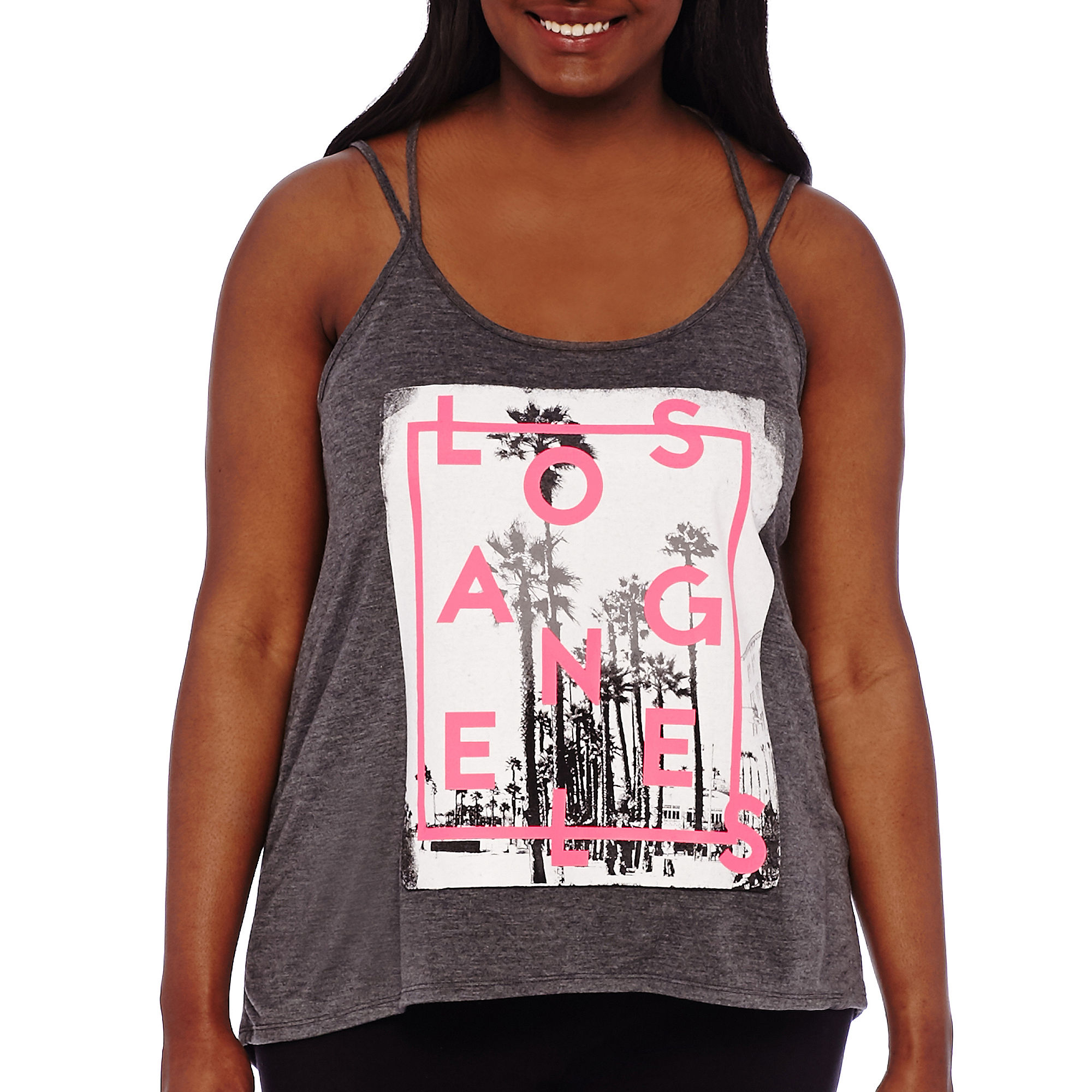 City Streets Crossback Screen Tank Top - Juniors Plus plus size,  plus size fashion plus size appare