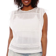 a.n.a® Ruffle and Lace Detail Top - Plus