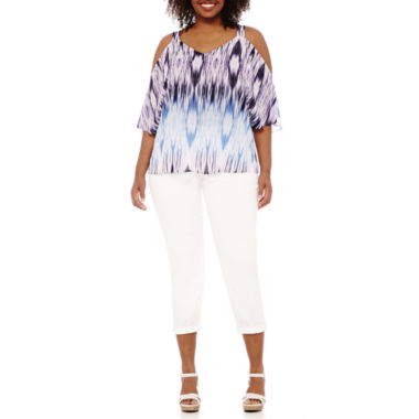 jcpenney.com | a.n.a® 3/4-Sleeve Cold Shoulder Blouse and Denim Ankle Pants
