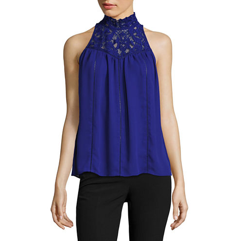 Worthington Sleeveless Mock Neck Woven Blouse-Petites