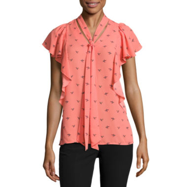 jcpenney.com | Worthington Short Sleeve V Neck Woven Blouse