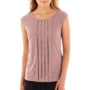 Liz Claiborne Extended-Shoulder Pleated Top