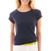 jcp Embellished Short-Sleeve Sweatshirt