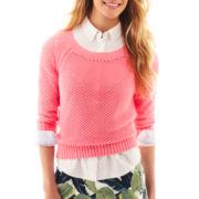 jcp™  3/4-Sleeve Crewneck Sweater