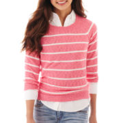 jcp™  3/4-Sleeve Striped Crewneck Sweater