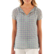 Liz Claiborne Cap-Sleeve Tie-Neck Blouse with Cami