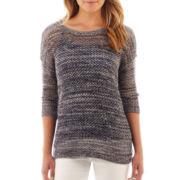 Liz Claiborne 3/4-Sleeve Open-Front Marled Sweater