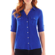 Liz Claiborne 3/4-Sleeve Knit Shirt