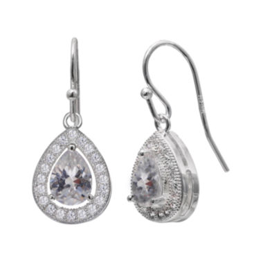 jcpenney.com | Silver Enchantment™ Cubic Zirconia Sterling Silver Teardrop Halo Earrings