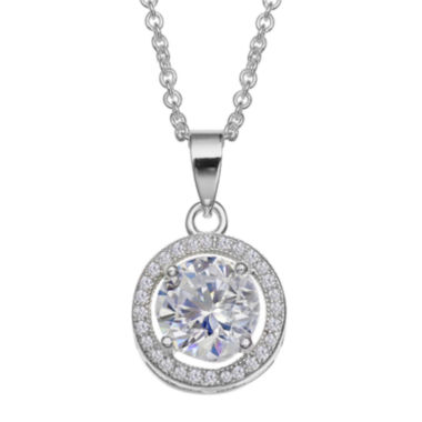 jcpenney.com | Silver Enchantment™ Round Cubic Zirconia Sterling Silver Halo Pendant Necklace