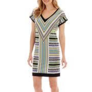London Style Collection Short-Sleeve Print Shift Dress