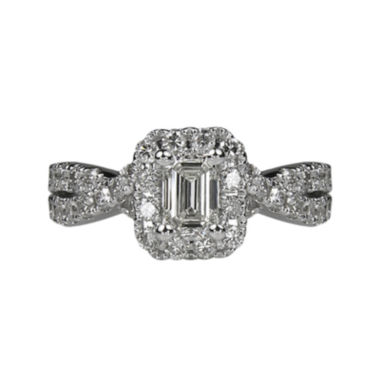 jcpenney.com | LIMITED QUANTITIES 1½ CT. T.W. Emerald-Cut Diamond Criss-Cross Sides 14K White Gold Engag