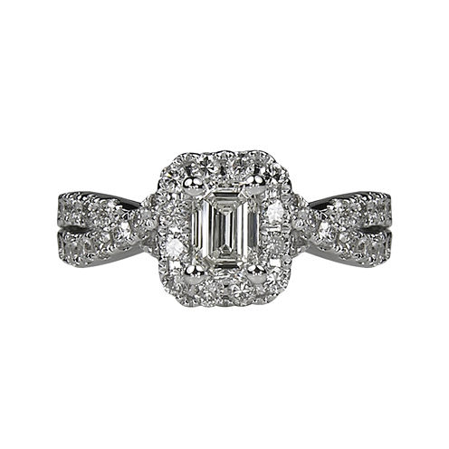 LIMITED QUANTITIES 1½ CT. T.W. Emerald-Cut Diamond Criss-Cross Sides 14K White Gold Engag