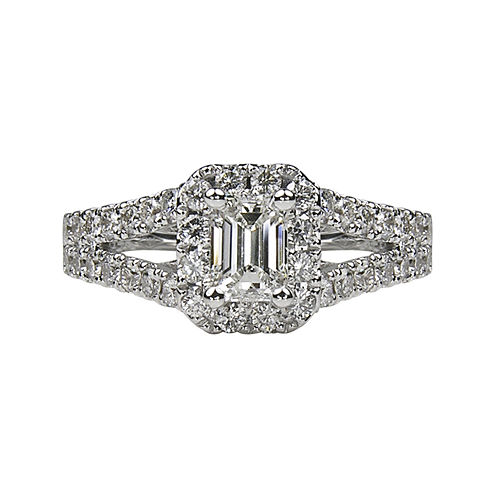 LIMITED QUANTITIES 1½ CT. T.W. Emerald-Cut Diamond Split-Shank 14K White Gold Engagement