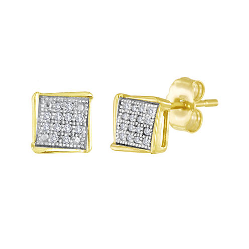 Diamond-Accent 10K Yellow Gold Square Stud Earrings