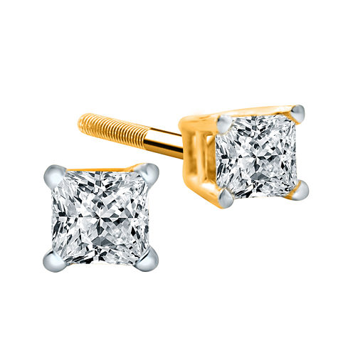 1/2 CT. T.W. Diamond 14K Yellow Princess-Cut Stud Earrings