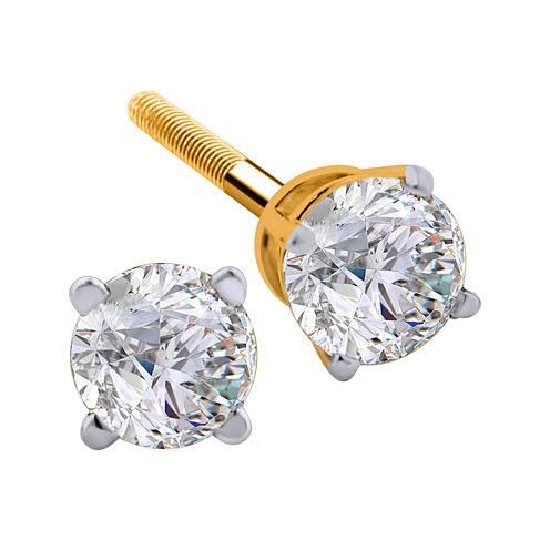 1 CT. T.W. Diamond 14K Yellow Round Stud Earrings