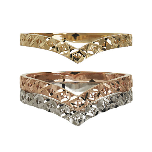 Chevron Textured 10K Gold 3-pc. Stackable Ring Set