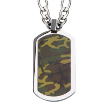 jcpenney.com | Inox® Jewelry Mens Camo Dog Tag Stainless Steel Pendant Necklace