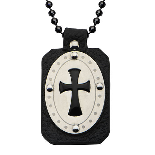 Inox® Jewelry Mens Genuine Onyx & Leather Stainless Steel Cross Pendant Necklace
