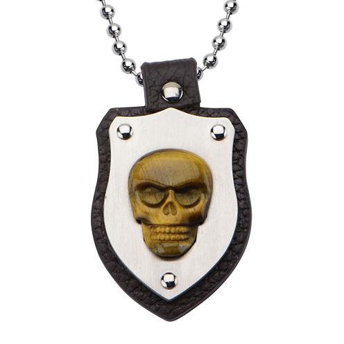 Inox® Jewelry Mens Genuine Tiger's Eye Skull Shield Pendant