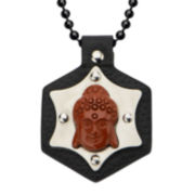 Inox® Jewelry Mens Red Jasper, Leather and Stainless Steel Buddha Pendant