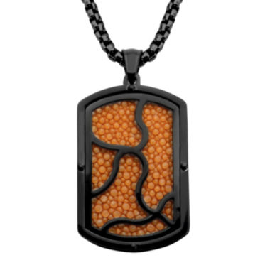 jcpenney.com | Inox® Jewelry Mens Orange Leather 2-Tone Dog Tag Pendant