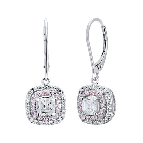 DiamonArt® Pink and White Cubic Zirconia Sterling Silver Drop Earrings