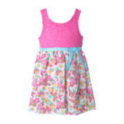 Pinky Knit Lace Butterfly Dress - Toddler Girls 2t-4t